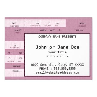 pink concert ticket 13 cm x 18 cm invitation card