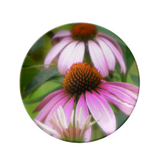 Pink Cone Flower Plate Porcelain Plate