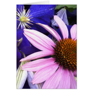 Pink Cone Flower & Purple Clematis Greeting Card