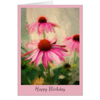 Pink Coneflower Birthday Greeting Card