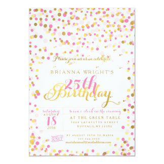 Pink Confetti and Gold Foil Birthday Party 5x7 Paper Invitation Card
