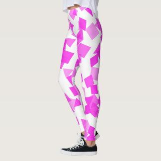 Pink Confetti on White Leggings