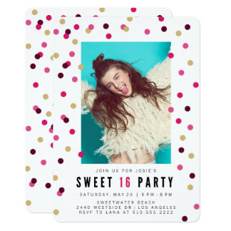 Pink Confetti Photo Sweet 16 Party Invitation