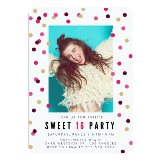 Browse Zazzle Sweet Sixteen Birthday invitation templates and customise with your own text, photos or designs.