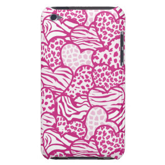 Pink contour girly animal print hearts iPod touch cover