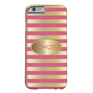Pink Coral and Gold Stripes | Monogrammed Barely There iPhone 6 Case