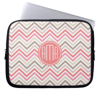 Pink, Coral and Linen Chevron Pattern Monogram Laptop Computer Sleeves