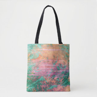 Pink Coral and Turquoise Marble Texture Tote Bag
