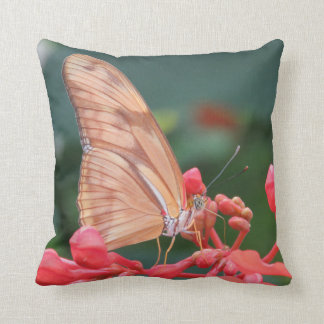 Pink Coral Butterfly Throw Pillow