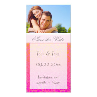"Pink/Coral Damask/photo  ""Save the Date"" Photo Greeting Card"