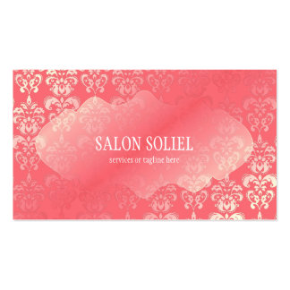 Pink Coral Damask Rococo Baroque Pack Of Standard Business Cards
