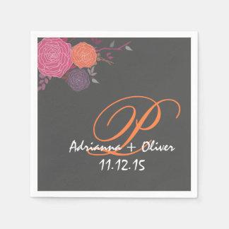 Pink Coral Mauve Flowers Wedding Monogram Gray Disposable Serviette