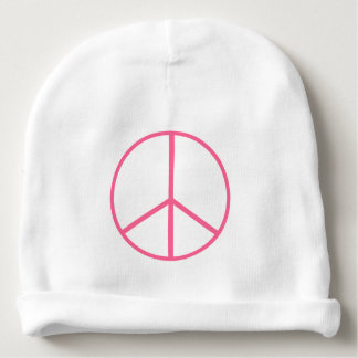 Pink Coral Peace Sign Baby Beanie