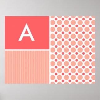 Pink & Coral Polka Dots, Dots Poster
