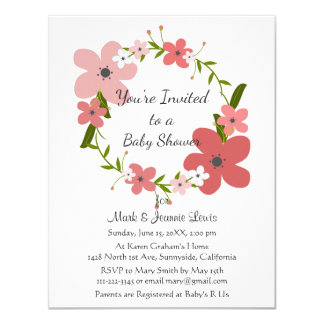 Pink Coral Rose Flowers, Floral Wreath Baby Shower Card