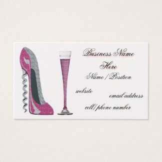 Pink  Corkscrew Stiletto & Champagne Business Card