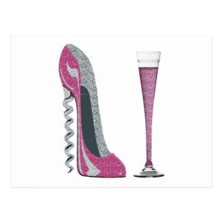 Pink Corkscrew Stiletto Champagne Flute Postcard