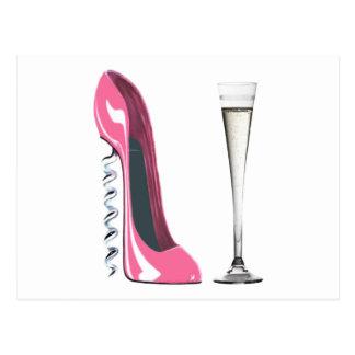 Pink Corkscrew Stiletto Shoe and Champagne Flute Postcard