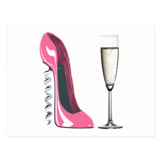 Pink Corkscrew Stiletto Shoe and Champagne Glass Postcard