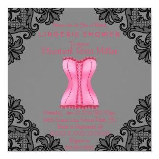 Pink Corset & Black Lace Lingerie Bridal Shower Personalized Announcement