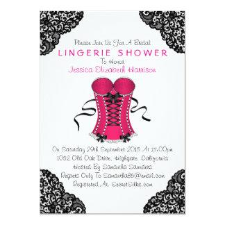 Pink Corset & Black Lace Lingerie Shower 5x7 Paper Invitation Card