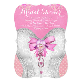Pink Corset Bridal Shower 13 Cm X 18 Cm Invitation Card