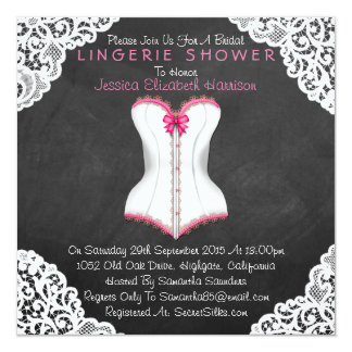 Pink Corset White Lace Chalkboard Lingerie Shower 13 Cm X 13 Cm Square Invitation Card