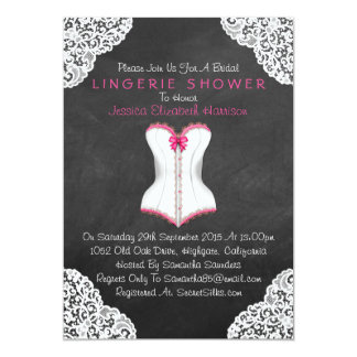 Pink Corset White Lace Chalkboard Lingerie Shower 5x7 Paper Invitation Card