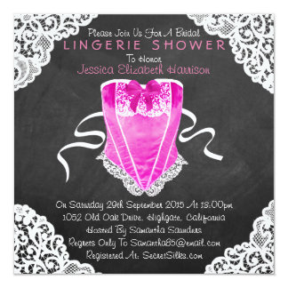 "Pink Corset White Lace Chalkboard Lingerie Shower 5.25"" Square Invitation Card"