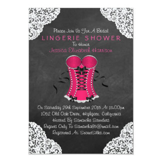 "Pink Corset White Lace Chalkboard Lingerie Shower 5"" X 7"" Invitation Card"