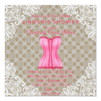 Pink Corset & White Lace Lingerie Bridal Shower Invitations