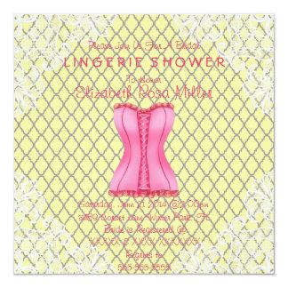 Pink Corset & White Lace Lingerie Bridal Shower Custom Announcements