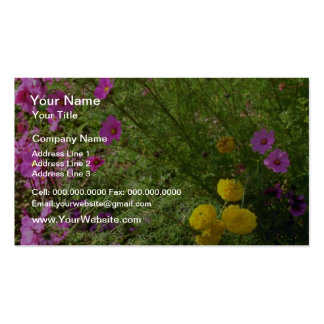 Pink Cosmos And Yellow Mums flowers Business Card Templates