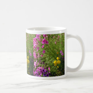Pink Cosmos And Yellow Mums flowers Coffee Mug