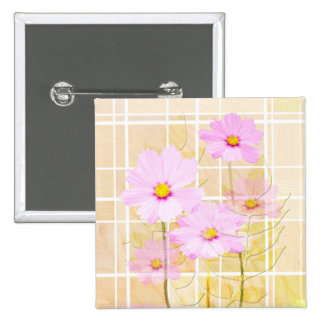 Pink cosmos cosmo flower cream yellow background buttons
