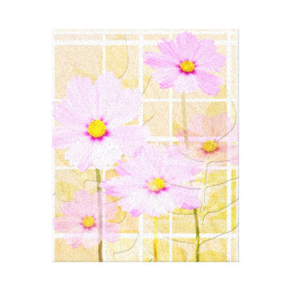 Pink cosmos cosmo flower cream yellow background canvas prints