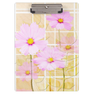 Pink cosmos cosmo flower cream yellow background clipboards