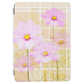 Pink cosmos cosmo flower cream yellow background iPad air cover