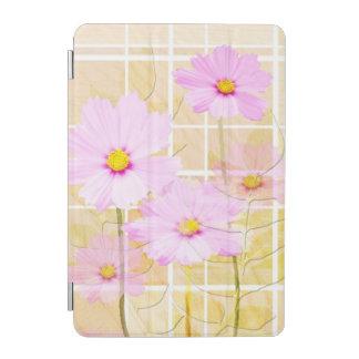 Pink cosmos cosmo flower cream yellow background iPad mini cover