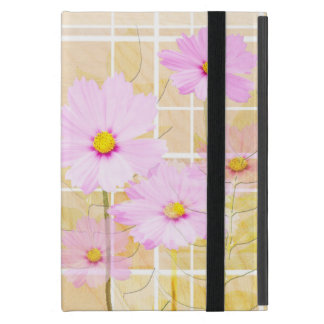 Pink cosmos cosmo flower cream yellow background cases for iPad mini