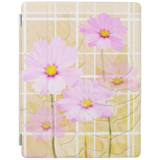 Pink cosmos cosmo flower cream yellow background iPad cover