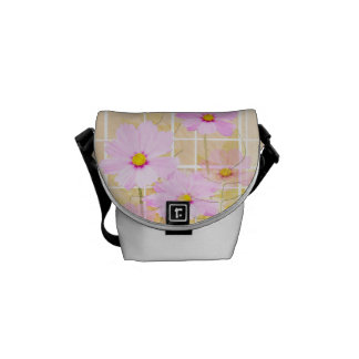 Pink cosmos cosmo flower cream yellow background courier bag