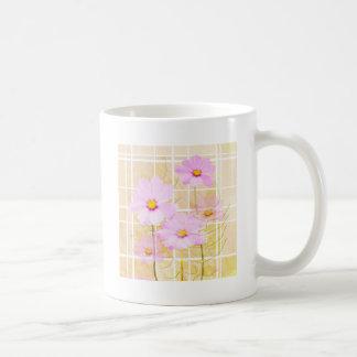 Pink cosmos cosmo flower cream yellow background mugs
