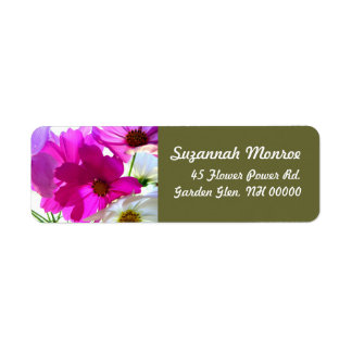 Pink Cosmos Floral Address Labels