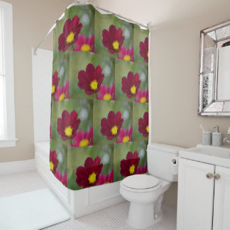 Pink Cosmos Floral Shower Curtain