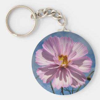 Pink Cosmos flower against blue sky Basic Round Button Key Ring