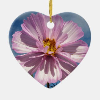 Pink Cosmos flower against blue sky Ceramic Heart Decoration