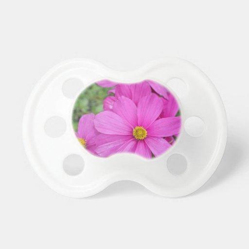 Pink cosmos flower garden pacifiers