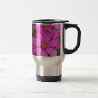Pink cosmos flower garden mugs