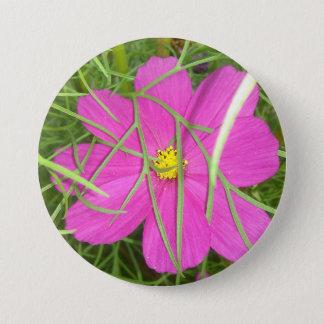 Pink Cosmos Flower Hiding 7.5 Cm Round Badge